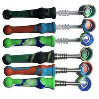 Silikonrör Nektar Samlare Pen NC Kit 14mm Joint med GR2 Titan Nails Silikonrör med kepsar Oljeriggkoncentrat Tips