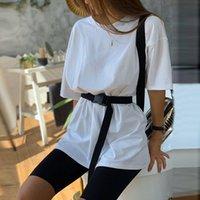 Sommer 2020 Frauen Set O Ansatz lose kurze Hülsen-Spitze Shirt und Biker Shorts beiläufige zweiteilige Sets weiße Haupt Outfits Khaki Anzüge
