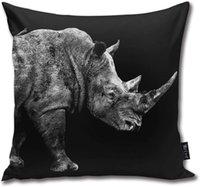 Safari Profili - Rhino kara baskı atmak Yastık Vücut Yastık Yastık Standart 18inch × 18inch = 45cm x 45cm Kare Yastık Dekorasyon