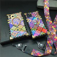 الفاخرة الليزر الشبكة غطاء الهاتف خمر مربع القضية لسامسونج غالاكسي S21 S20 Note20 Ultra S10 Plus iPhone 12 11 Pro Max X XR XS SE2
