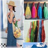 Portable réutilisable épicerie coton Drawstring Panier de stockage Sac à main Net Mesh net tissé chaîne écologie sac à main marché