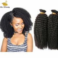Afro American Curly 4b Vorkundet I Tip Human Hair Extensions Flauschiger modischer Stil 0,5 g / 0,8 g / 1g / strang