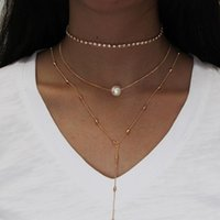 Multi layers Necklace acrylic diamond setting chain choker Bead Heart Pearl charm Y shape Beaded Chain sexy necklace gold color plated
