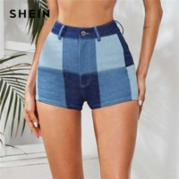 SHEIN Medium Wash Patchwork Print Denim Shorts Women Summer ...