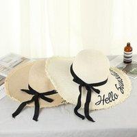 Bow Kadın Kilisesi Plaj Derby Brimmed Elbise ile Güneş Şapka Straw Kepçe Şapkalar Summer Sun Visors Tatil Cap Şık Hat Caps
