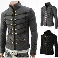Tasarımcı Erkek Dış Giyim Vintage Erkekler Gotik Ceket Steampunk Katı Kaya Üniforma Punk Metal Askeri Man Coat Casual