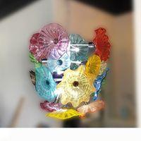 Горячие продажи Murano Flower Люстра Light Спальня Гостиная Столовая Art Декоративная выдувное стекло рука Тарелка для люстры светодиодных Светильники