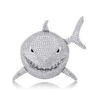 6ix9ine tiburón colgante lleno de personalidad de circón collar de Hip Hop Rap Hombres regalo de la joyería de cuentas de los encantos Collares