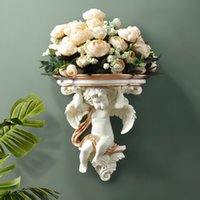 Início parede decorativa Flores Artificial Shelf Pendart Art Hanging Resina Mural Craft Wedding Sala Oornaments parede do vaso