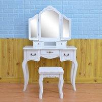 Quarto luz alta extremidade real mesa de molho simples mesa de maquiagem com lâmpada três cores ajustáveis mulheres vestindo mesa