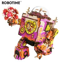 Robotime Limited Edition Colorful Robot Wooden DIY 3D Puzzle Game Steampunk Music Box Toy Gift for Children Lover Friends MX200414