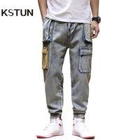KSTUN para hombre de los pantalones vaqueros de color Denim Jeans bolsillos de los pantalones del cargo de los hombres ocasionales de la vendimia Holgado Harem Pantalones Multi Bolsillos Joggers Homme