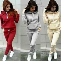 2020 Autumn Winter 2 Piece Set Women Hoodie Tops Pants Track...