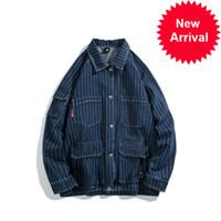 Hombre Nueva Moda Retro Denim Chaqueta Primavera Japón Estilo Manga Larga Hombre Rayas Jackets Cowboy Streetwear