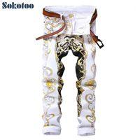 Sokotoo Erkekler ince baskı kot Moda çiçek düz beyaz kot pantolon Uzun trousers1