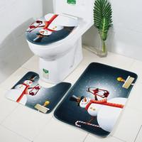 30lots x-mas 목욕 매트 크리스마스 화장실 매트 3pcs / 세트 욕실 카펫 화장실 뚜껑 커버 변기 꼭대기 커버 러그 비 slipdh0228