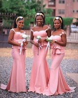 2020 Mermaid Bridesmaid Dresses Sweep Train Appliques Illusi...