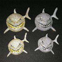 New llegaron collar de Bling 6IX9INE mismo collar animal grande tiburón completa pendiente circón de Hip Hop de los hombres