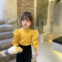 Newest INS Little girls ribbed t- shirt autumn blank puff sle...
