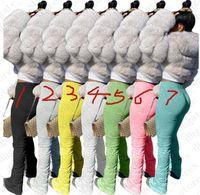 Sommer-Frauen Jogginghose Solide Flare Pants Damen Stacked Jogger gefaltete hohe Taillen-Hosen Trend Fashion Bottom Skim Leggings Hose LY709