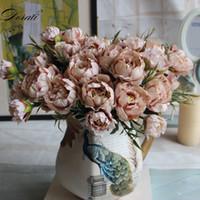 Eski püskü şık Buket Avrupa Ev Dekorasyon İç için Pretty Gelin Düğün Küçük Şakayık İpek Çiçekler Ucuz Mini Sahte Çiçekler