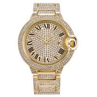 Moda Hombres Mujeres Pareja Oro Reloj de oro Diamante Full Iced Out Diseñador Relojes de Diseñador Acero Inoxidable Cuarzo Movimiento Regalo Lady Relojes Relojes