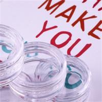 Runde Schulter Kleine Sahnekasten Separate Plastik Bottling Fall Transparente Glas-Topf-Flaschen-Container kosmetische Probe Lipgloss Sub 0 11wq B2
