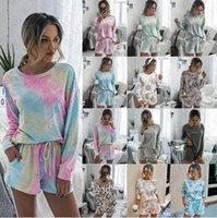 Kadın Hoodie ve Şort Seti 2 adet Çiçek Tie Pijama Ev Kıyafetler D71407 ayarlar Katı Eşofman Kazak Gömlek İpli Kısa Pantolon boya