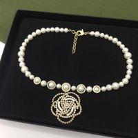 Partido Top Quality moda jóias Camellia Cristal Colar Pérolas Luxcy partido da flor Colar Vintage Neckalce cadeia de jóias