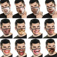 Funny Face Mask unisex Viso Bocca Maschera riutilizzabile Moda Bocca Maschera divertente 3D Stampa Espressione divertente del fronte di copertura maschere LJJK2430