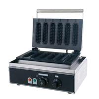 Sıcak Satılık İşyeri 6 Izgaralar Çıtır Hot Dog Waffle makinesi Makinası Elektrik Muffin Makinesi Waffle Makinesi LLFA Yapımı