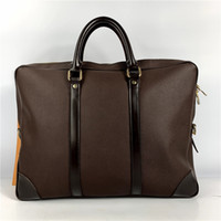 Высокого качество деловых сумок мужского дизайнер ручной вязки портфели Real кожаного бизнес ноутбук сумка мужской Документ сумка