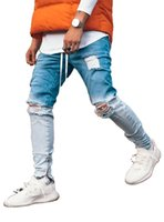 Trendy Uomini Skinny Jeans Biker Distrutto Fit Denim strappato pantaloni del denim di pendenza della caviglia Zipper matita dei pantaloni di Hip Hop Streetwear