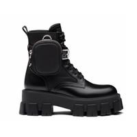 Nuovo Rois Pelle e Nylon Boots Stivali Martin Scarpe Caviglia Scarpe da combattimento per donna Stivaletti rimovibili Black Lady Stivaletti all'aperto Scarpe