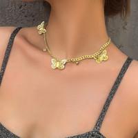 Sparkling strass diamante bela borboleta colar gargantilha borla para mulheres meninas novo ins populares designer de moda