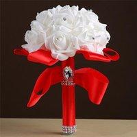Rosa Rojo Azul Blanco Buqueras nupciales Buquetas de novia artificial Playa País Partido nupcial rústico Favorece Flores de la mano de la mano