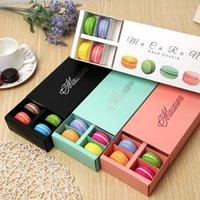 Renkli Macaron Kutusu 12 Kavite Tutar 20 * 11 * 5 cm Gıda Ambalaj Hediyeler Kağıt Parti Kutuları Fırın Kek için Snack Şeker Bisküvi Muffin Kutusu KWJT