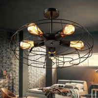 Урожай ретро Промышленный вентилятор Потолочные светильники American Country Kitchen Loft лампа Железный Материал Установить 5pcs E27 лампочек