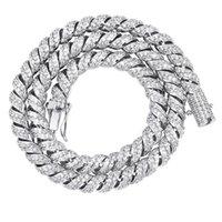 Luxury Bling Zircon Choker Necklace Fashion 10mm Width 18K Gold Rhodium Plated Cuban Chain Necklaces Hip Hop Men Women Necklaces