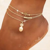 Basit yeni yıldız boncuk zincir plaj mikro Elmas Altın ananas zinciri set Kadın ayak halhal aksesuarları Avrupa ve Amerika