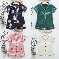 Manga Curta Criança BLouse Tops + Shorts Sleepwear Pijamas Crianças Roupas Bebê Pijama Sets Boys Girls Dos Desenhos Animados Deer Deer Roupa de Impressão Definidos Designer