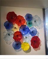 Красный Синий Элегантный стекла украшения стены выдувные стеклянные пластины муранского стекла Стиль стены искусства Пластинчатые огни