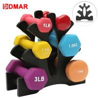 Dmar Dumbbells cremalheira Bracket Suporte para uso doméstico para fitness Início PVC pequeno Mulheres Homens Crossfit Body Building Exercise Equipment
