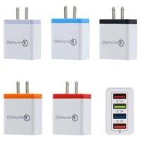 Carregador de parede QC3.0 4 portas USB 5V 3A rápida UE Plug EUA carregamento rápido viagem adaptador para Samsung S5 S8 Nota 10 Huawei
