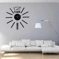 3D Gerçek Büyük Duvar Saati Rushed Ayna Duvar Sticker DIY Salon Ev Dekorasyonu Moda Akrilik Saatler Varış Kuvars Saatler