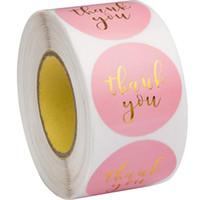 500 قطع الوردي ورقة ملصقات ملصقات الذهب شكرا لك ملصقات ختم تسميات ل بطاقة هدية الزفاف الأعمال التعبئة والتغليف القرطاسية ملصقا