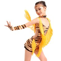 Abito da ballo latino sexy da danza sexy Girls 2021 Tassel Zebra Tiger Leopard Latino per bambini Abiti Concorso