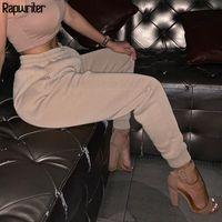 Rapwriter Casual Sólidos calças grossas de algodão Mulheres 2020 Outono Inverno estiramento cintura alta Streetwear Jogger Pencil Calças bolso CX200804