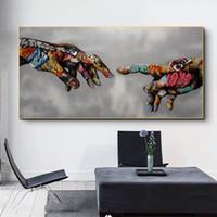 Criação de Adão Graffiti Posters Arte em tela e imprime mão para pinturas de arte de rua Mão lona na parede Art Pictures Cuadro