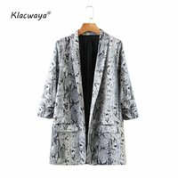 Klacwaya Femmes 2020 Mode Serpentine Imprimer Manteau Blazer d'or Vintage Manches longues pour femmes poches Femme d'extérieur Hauts Chic